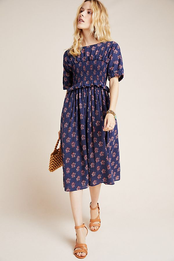 Slide View: 1: Corey Lynn Calter Patsy Smocked Midi Dress