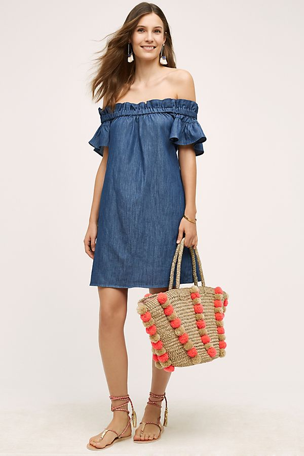 9a2e6accf4 Denim Off-The-Shoulder Dress