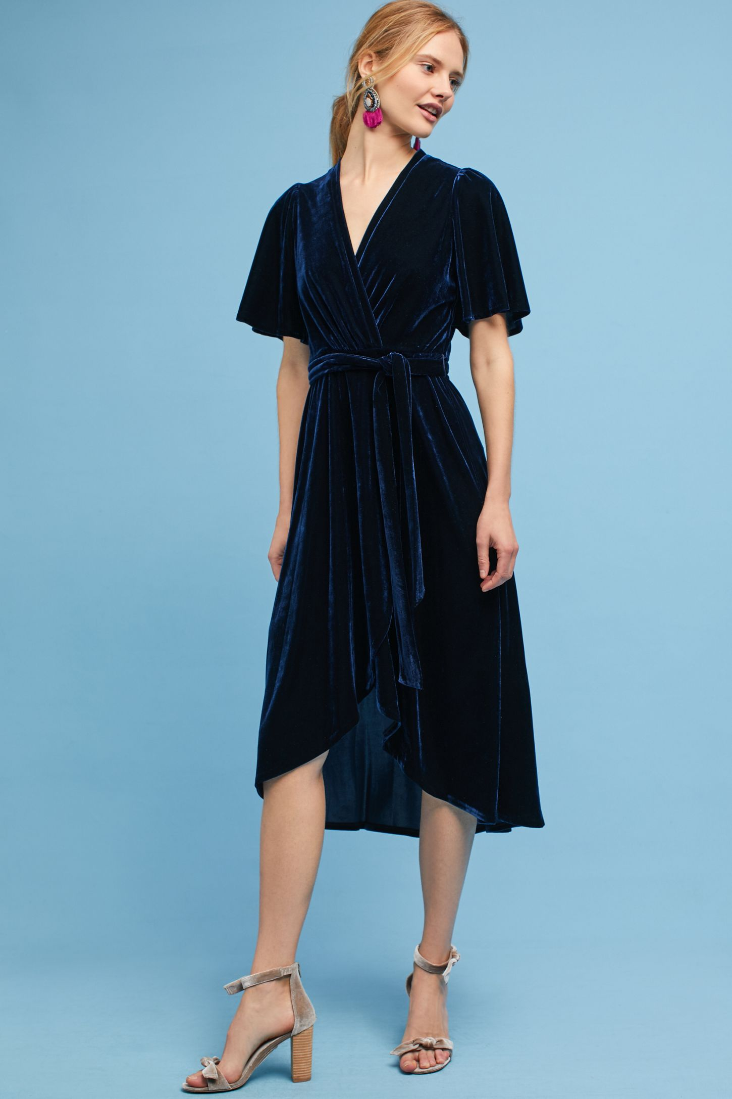 515c57b2fc9 Velvet Wrap Midi Dress