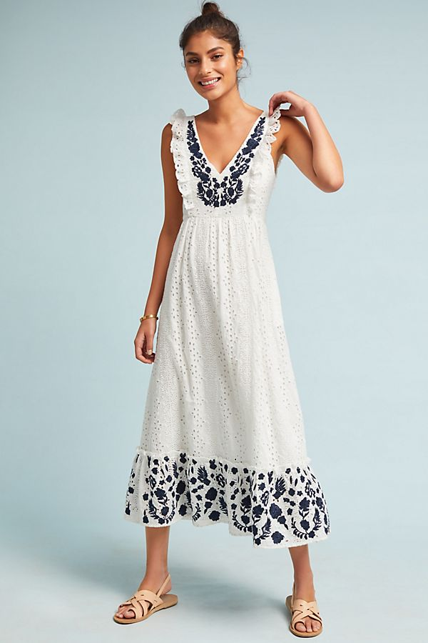 41c4e7cbe Embroidered Eyelet Midi Dress | Anthropologie