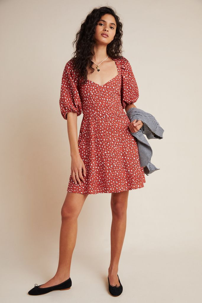 Anthropologie Malmo Puff-Sleeved Mini Dress