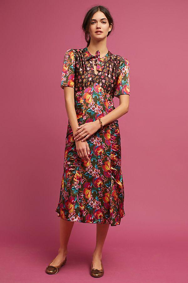 Anna Sui Ruched Silk Dress Anthropologie
