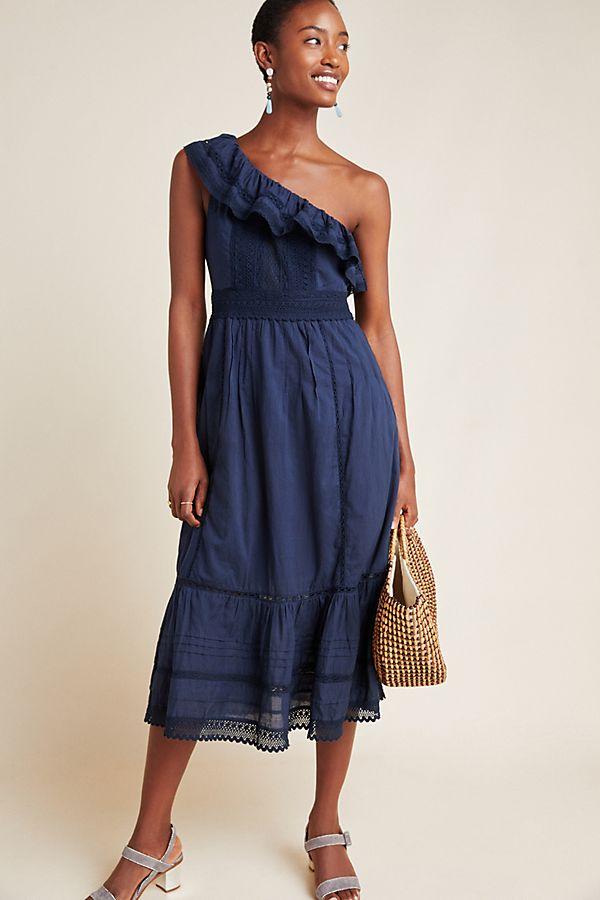 Slide View: 1: Coco One-Shoulder Lace Midi Dress