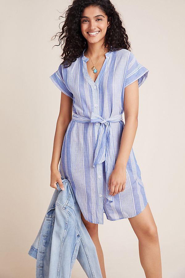 Slide View: 1: Noreen Striped Linen Shirtdress