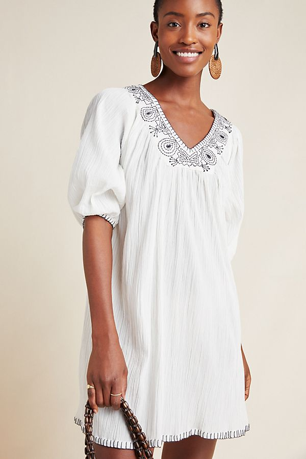 Slide View: 1: Trista Embroidered Tunic Dress