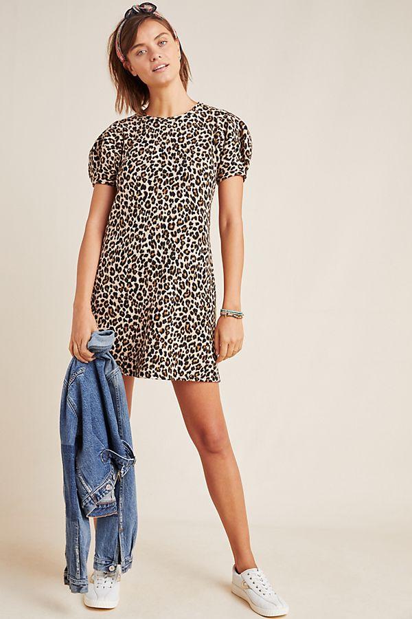 Slide View: 1: Jolene Leopard Puff-Sleeved Mini Dress