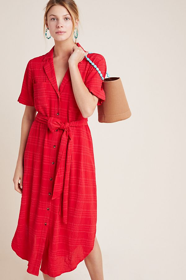 Slide View: 1: Aria Textured Shirtdress