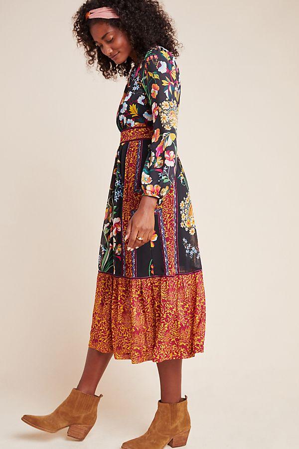 Slide View: 1: Adair Velvet-Trimmed Midi Dress