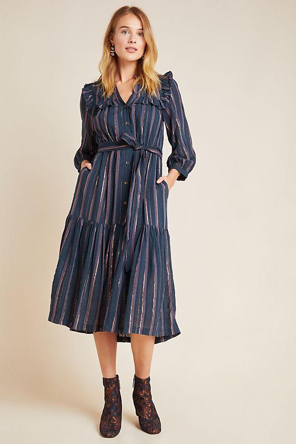 Slide View: 1: Midnight Ruffled Midi Dress