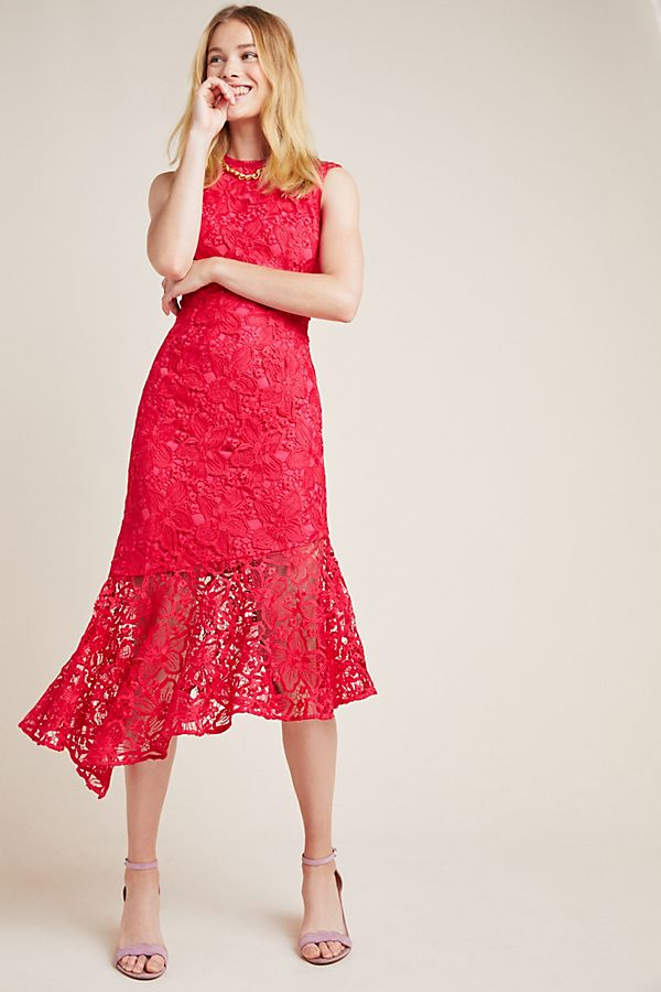 Slide View: 1: Shoshanna Botanique Lace Midi Dress