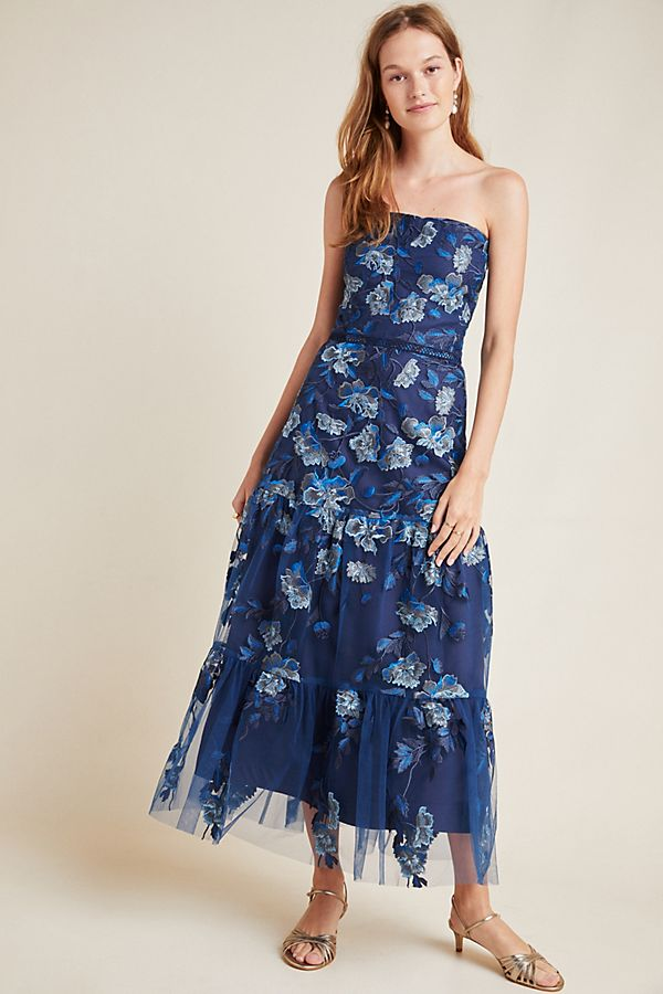 Slide View: 1: Shoshanna Silas Embroidered Maxi Dress