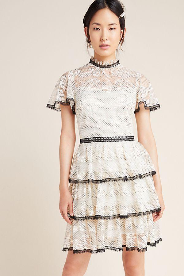 Slide View: 1: Shoshanna Tiered Lace Mini Dress