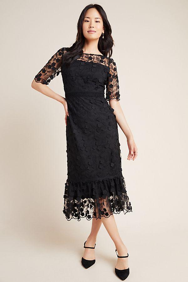 Slide View: 1: Shoshanna Embroidered Lace Midi Dress