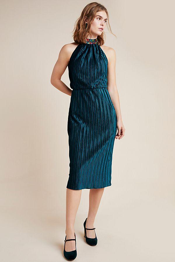 Slide View: 1: Shoshanna Denise Velvet Midi Dress