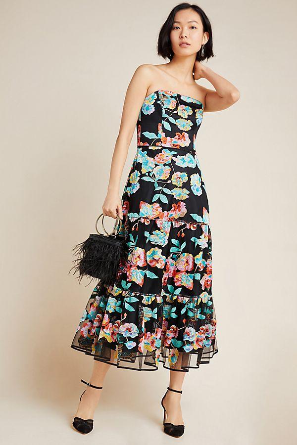 Slide View: 1: Shoshanna Embroidered Midi Dress