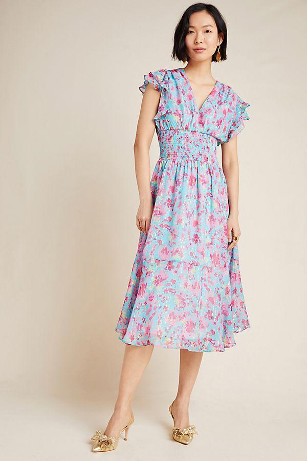 Slide View: 1: Shoshanna Ziara Smocked Midi Dress