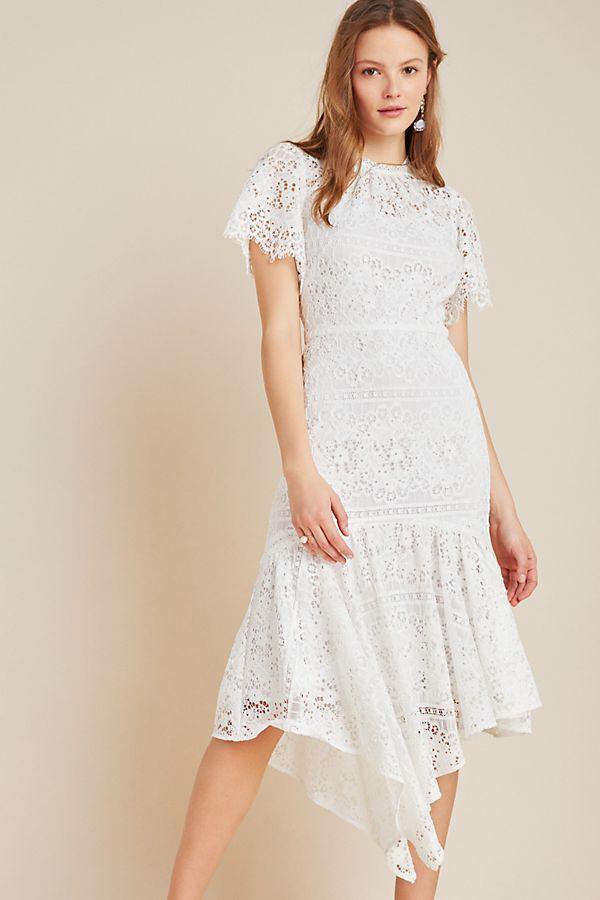 Slide View: 1: Shoshanna Asymmetrical Lace Midi Dress