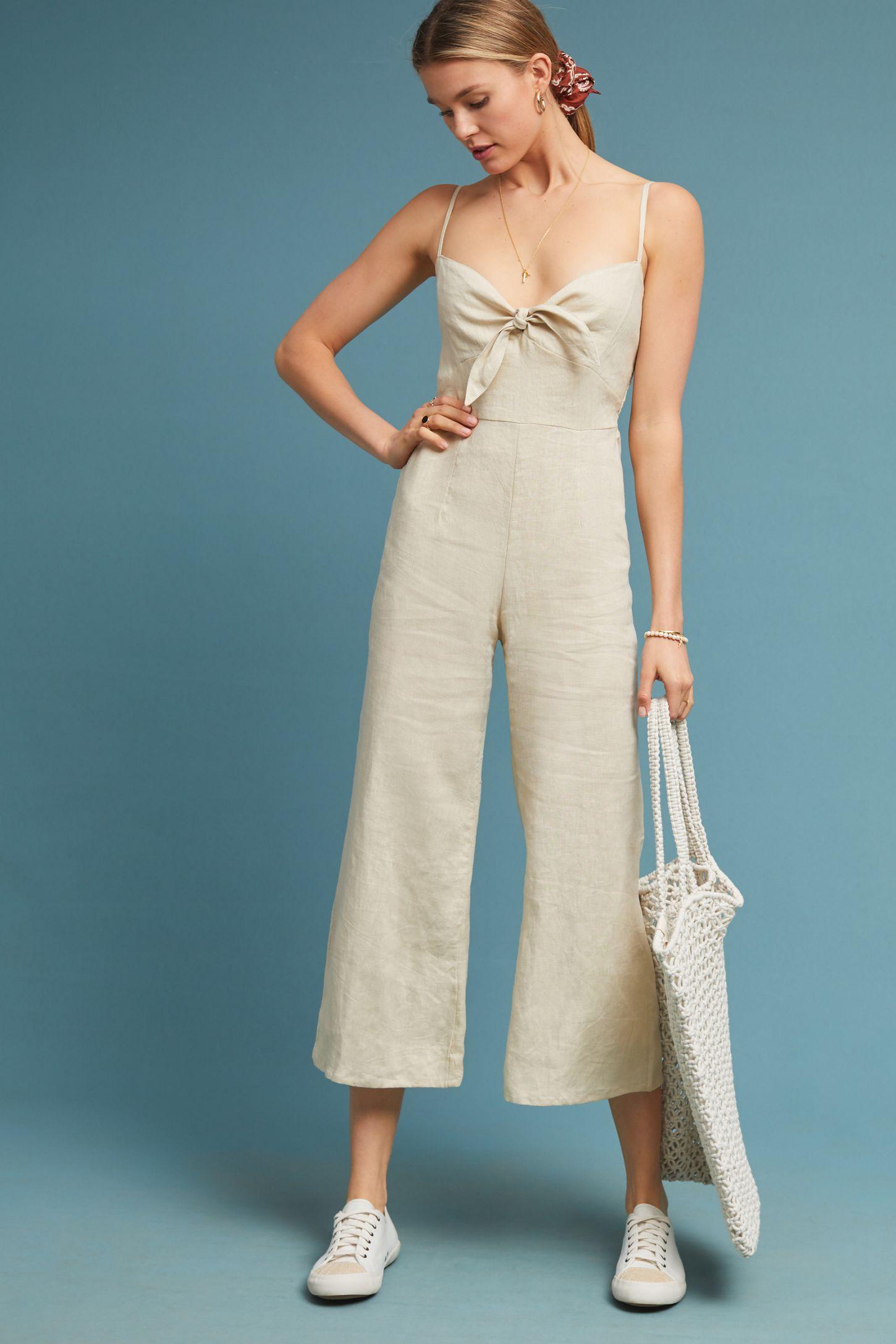8afe7d92f468 Faithfull Cropped Linen Jumpsuit