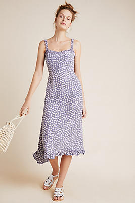 Slide View: 1: Faithfull Noemie Smocked Midi Dress