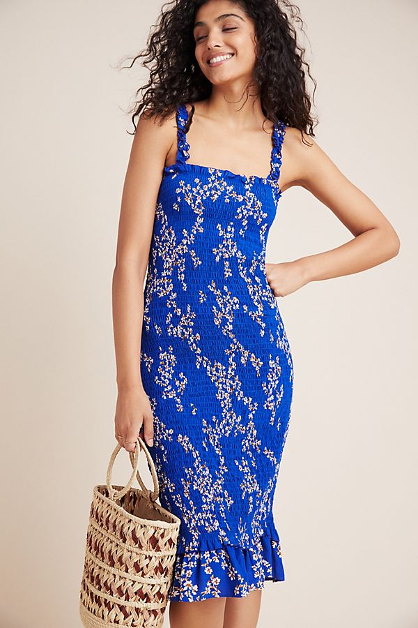 Slide View: 1: Faithfull Farah Smocked Midi Dress