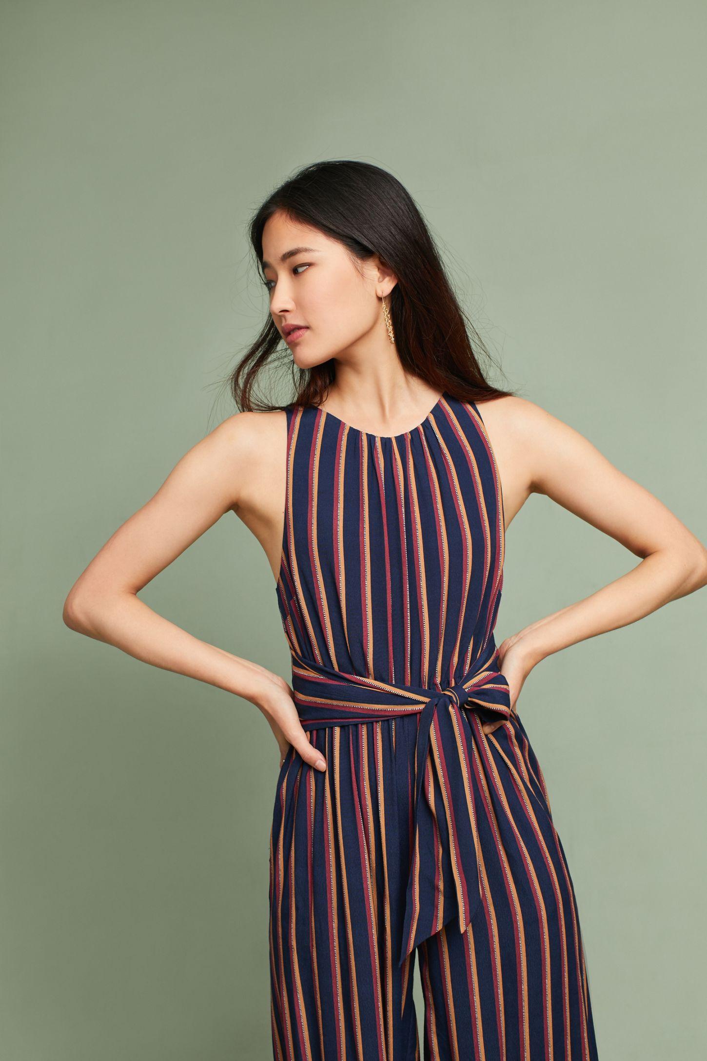 07bced0b54d Tie-Front Striped Jumpsuit