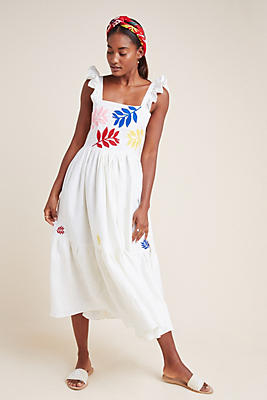 Slide View: 1: Carolina K Embroidered Linen Dress
