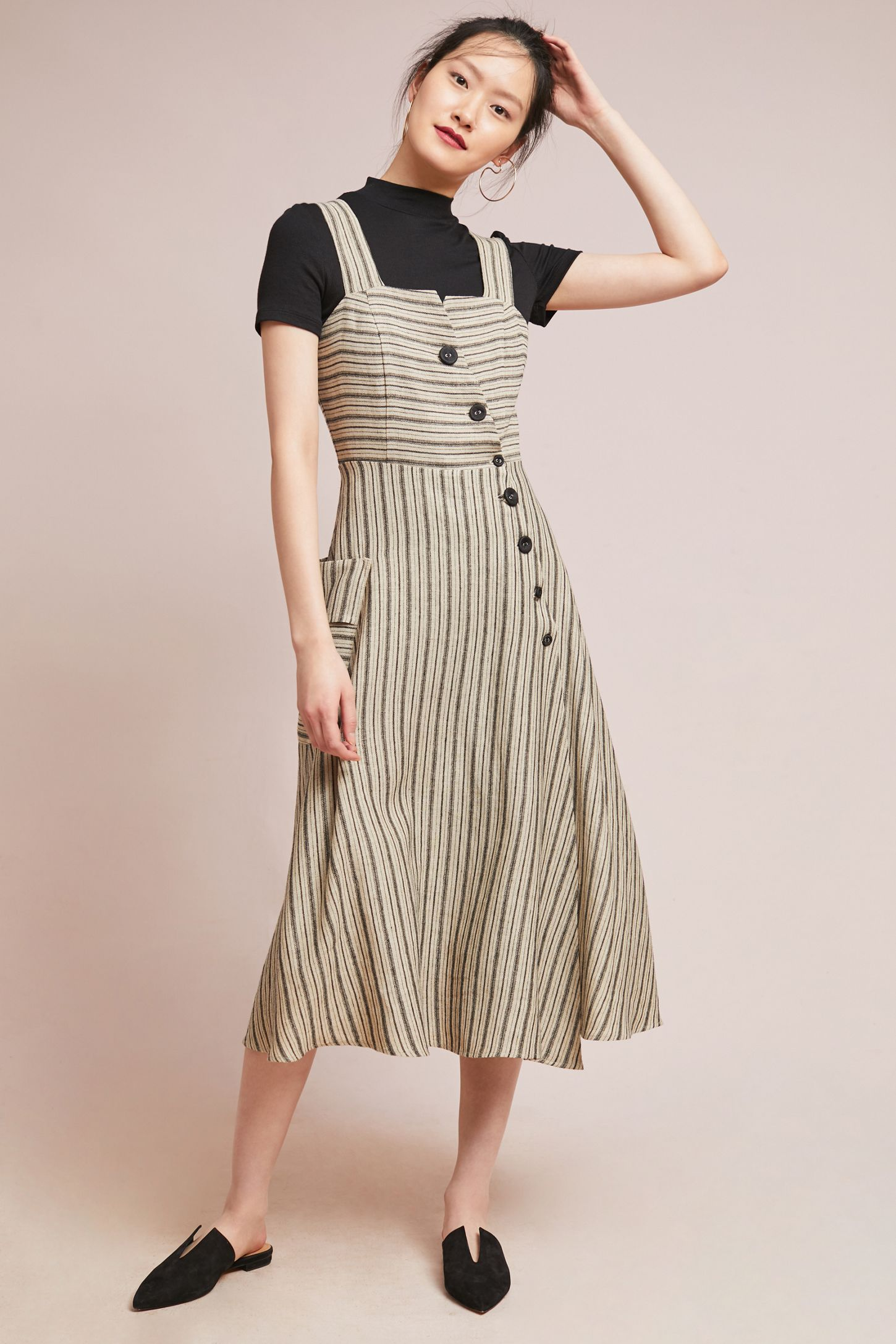 8bcb812fad2 Striped Utility Midi Dress