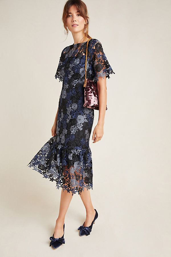 Slide View: 1: Brigitte Embroidered Midi Dress
