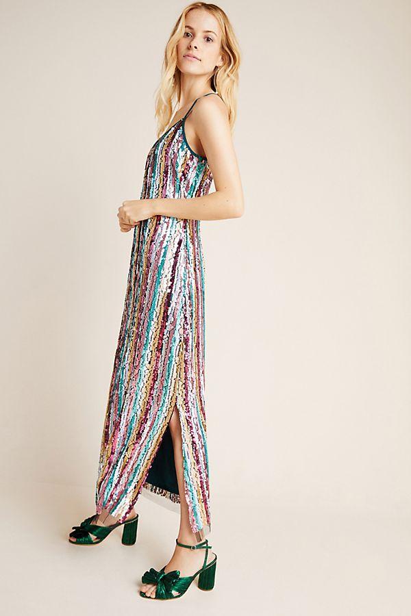Slide View: 1: Marguerite Sequined Maxi Slip Dress