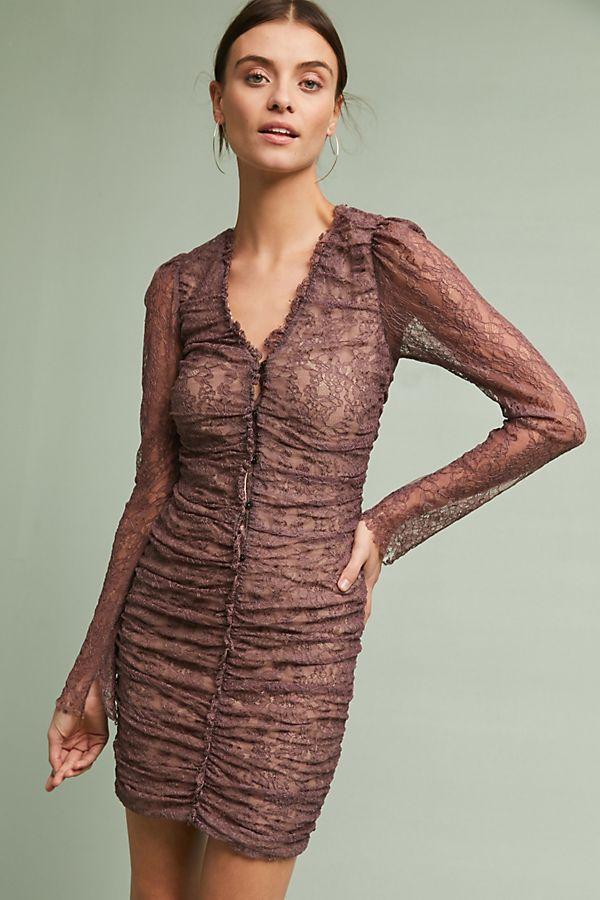 Ruched Lace Mini Dress