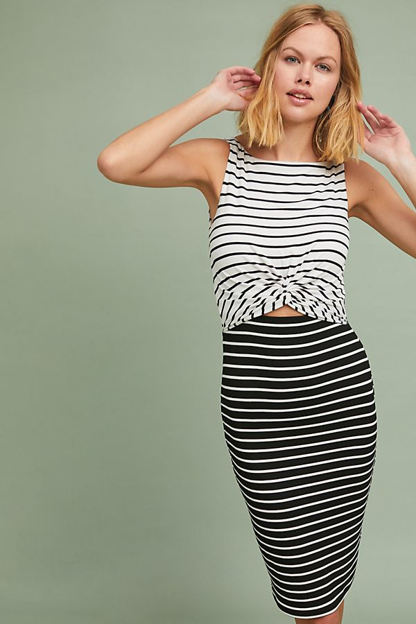 0324749820a Two-Toned Stripe Column Dress