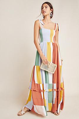 Slide View: 1: Sunny Striped Maxi Dress