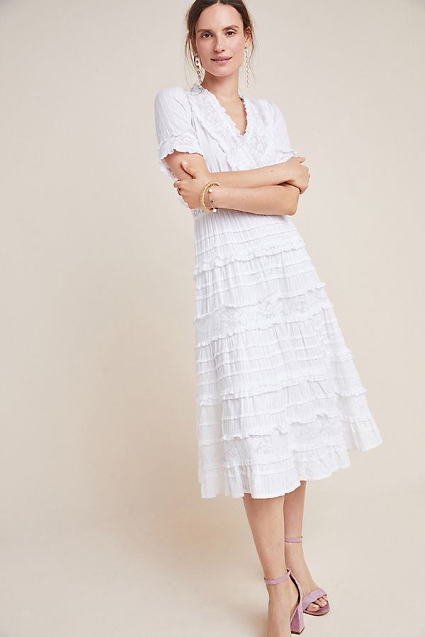 Slide View: 1: Eugenie Ruffled Lace Midi Dress