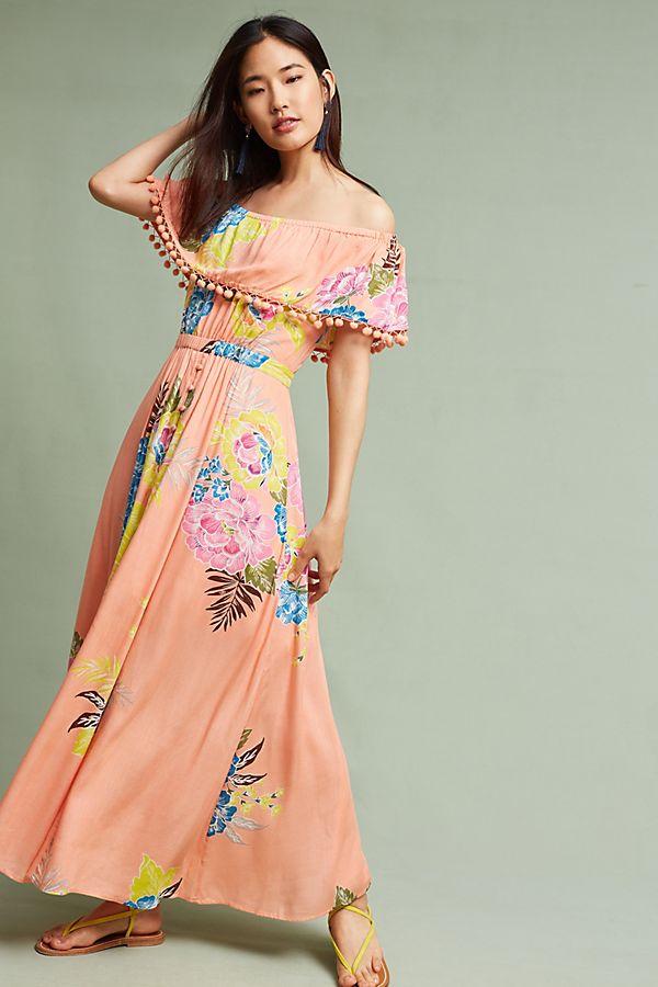 b5c588dfd9 Farm Rio Pom Pom Off-The-Shoulder Maxi Dress