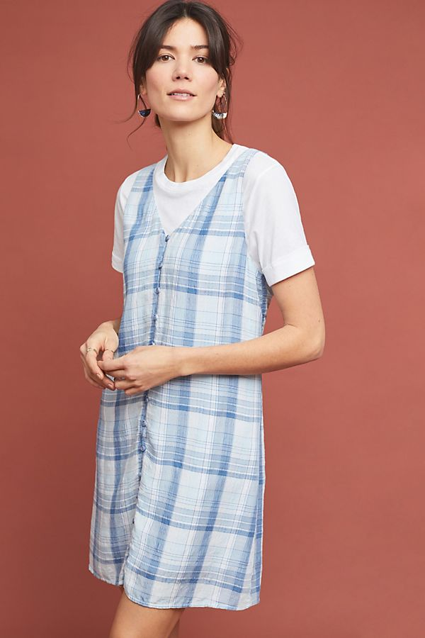 Slide View: 1: Cloth & Stone Plaid Buttondown Dress