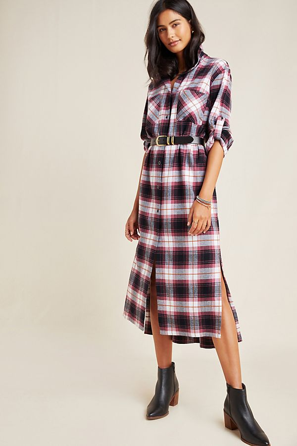 Slide View: 1: Cloth & Stone Plaid Maxi Shirtdress
