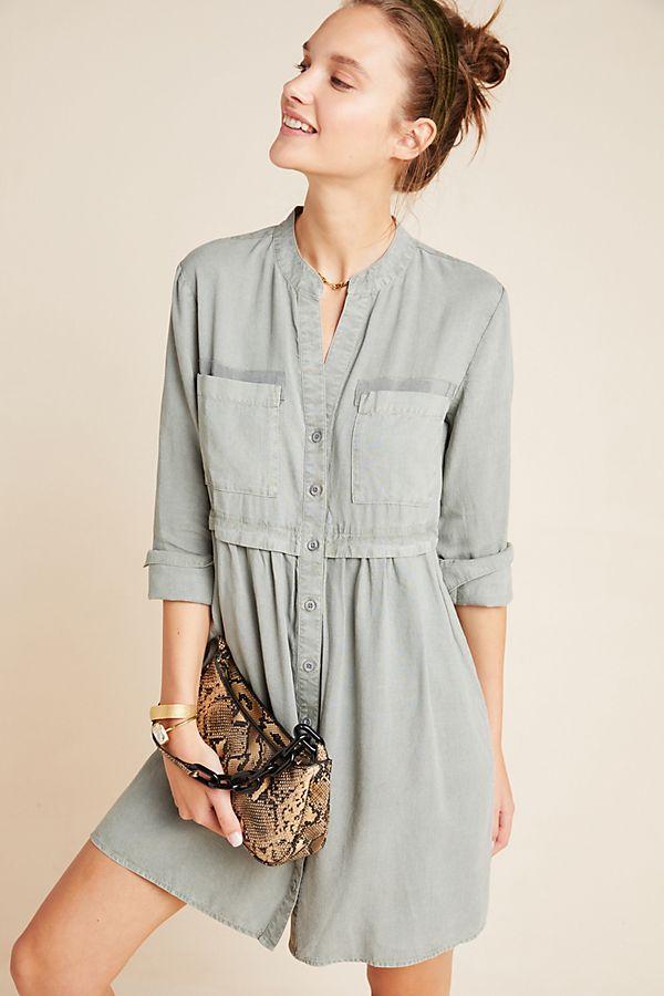 Slide View: 1: Cloth & Stone Lila Chambray Shirtdress