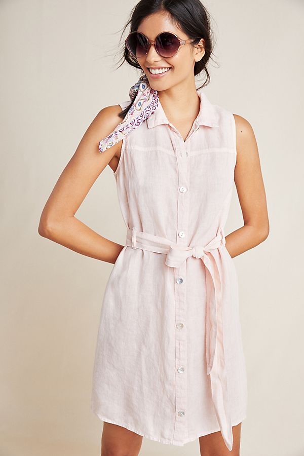 Slide View: 1: Cloth & Stone Sleeveless Linen Shirtdress