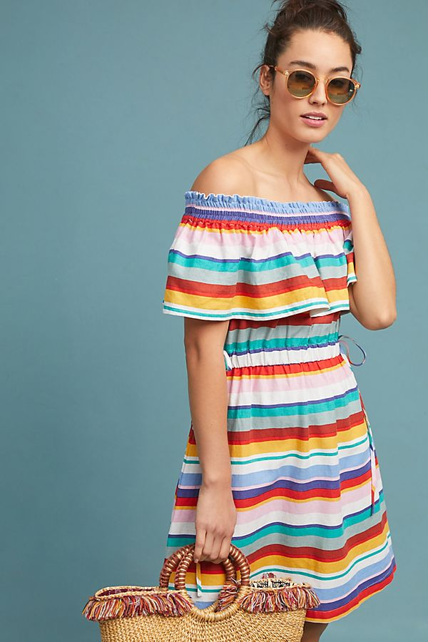 e72aaf99a7cf Striped Off-The-Shoulder Dress