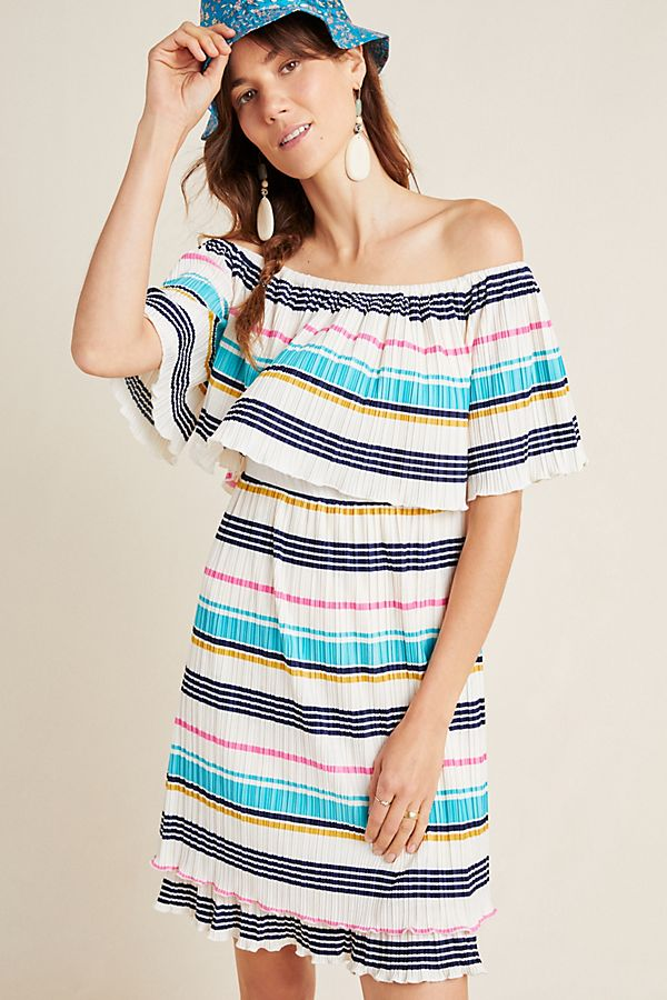 Slide View: 1: Bethany Striped Off-The-Shoulder Dress