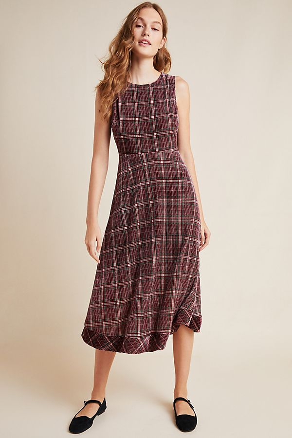 Romy Plaid Velvet Midi Dress by Eri + Ali