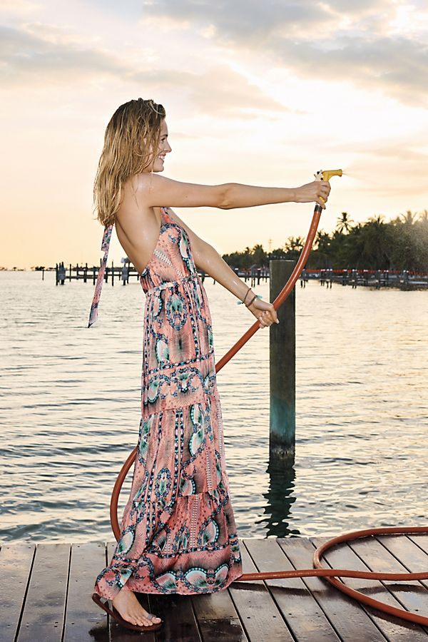 Slide View: 1: Moroccan Print Maxi Dress