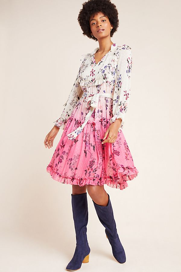Slide View: 1: Dip-Dyed Floral Dress
