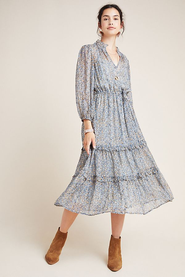 Jasmina Tiered Printed Midi Dress by Anthropologie