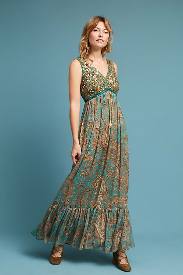 fe91af8dfc340 Beaded Paisley Maxi Dress | Anthropologie