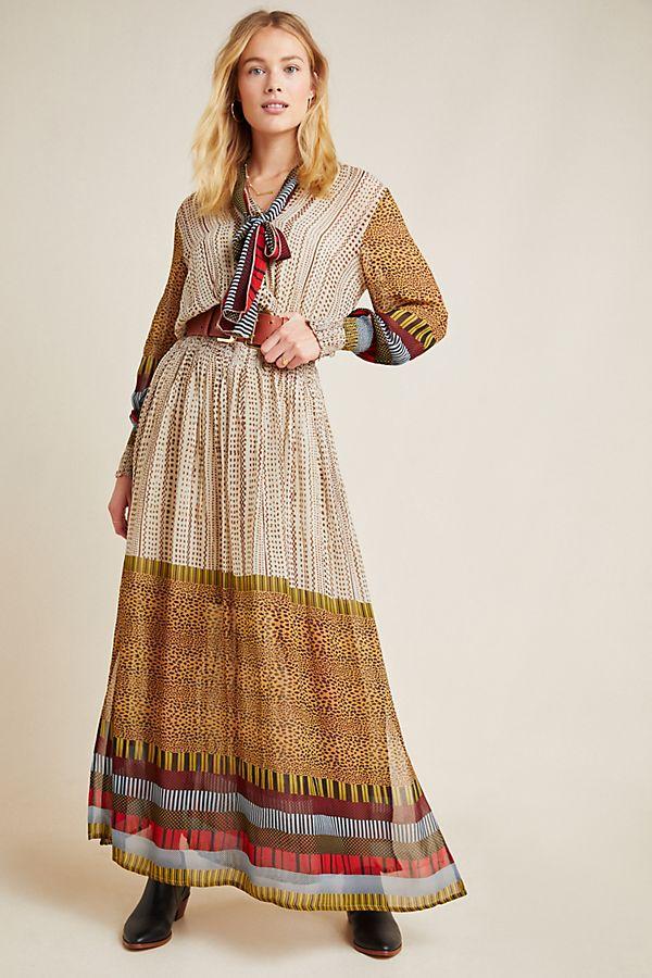 Slide View: 1: Renata Puff-Sleeved Maxi Dress