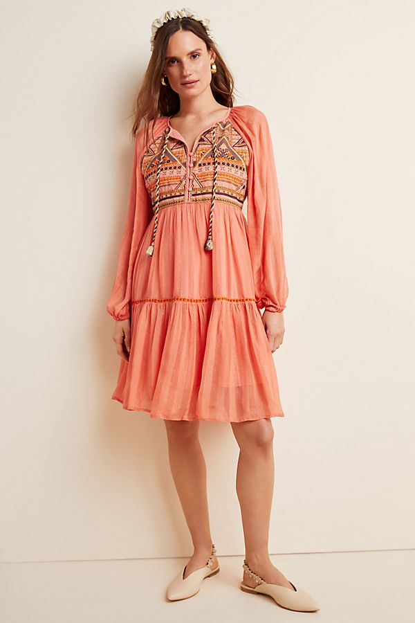 Slide View: 1: Norah Tiered Embroidered Mini Dress