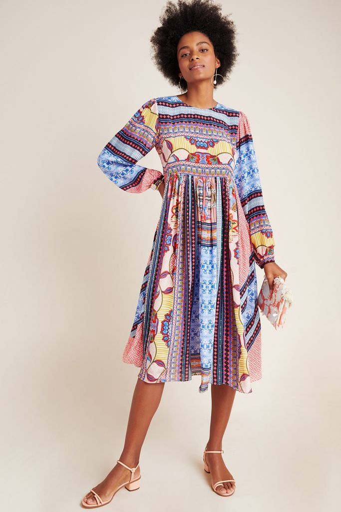 Marcelina Midi Dress with blue and multicolors - Anthropologie. #dresses #summerdresses #springdresses #mididresses #fashion