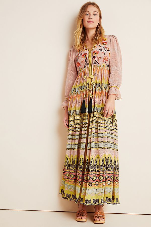 Slide View: 1: Giorgia Embroidered Maxi Dress
