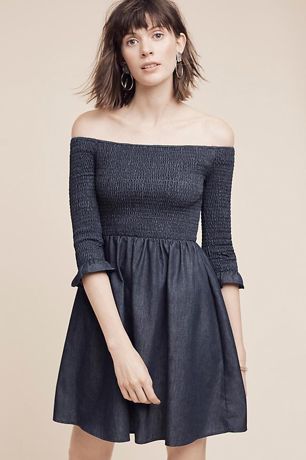 b1d7dc5b685e Smocked Off-The-Shoulder Denim Dress